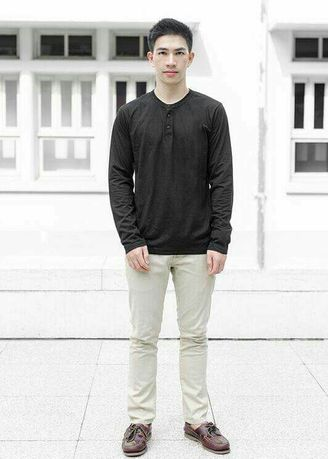 Black color T-Shirts and Polos . Men's Basic Buttoned Neck Long Sleeve T-Shirt -