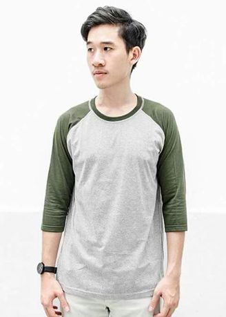 Green color T-Shirts and Polos . Men's 2 Tone Basic Tee -