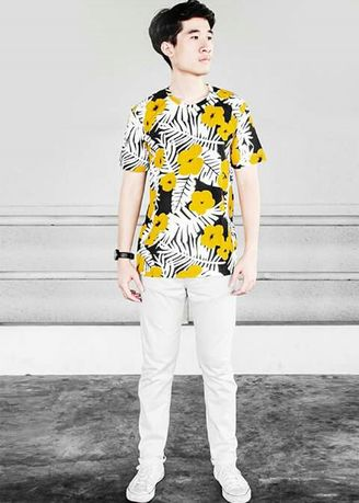 Yellow color T-Shirts and Polos . Men's Floral Printed Tee -