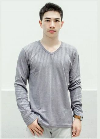 Grey color T-Shirts and Polos . Men's V-Neck Long Sleeve T-Shirt -