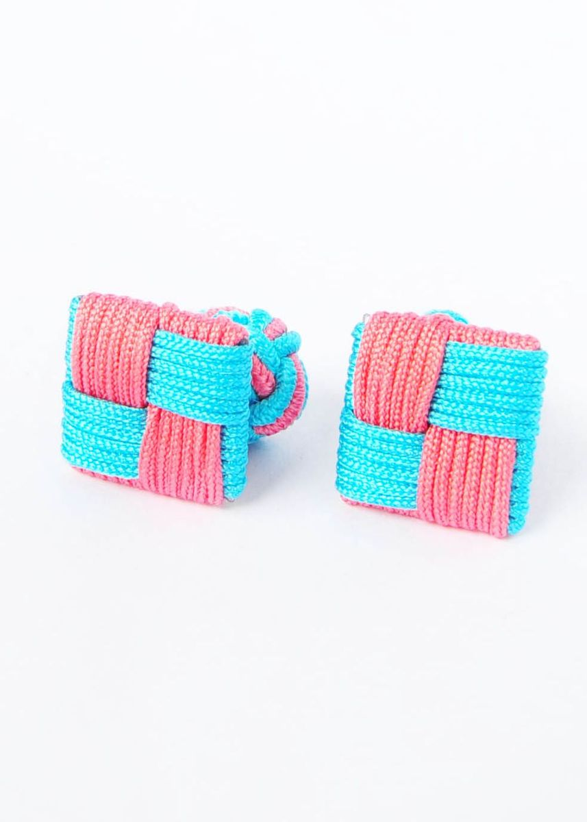 Multi color Cufflinks . Pink & Blue Square & Silk Knot Style Cufflinks -
