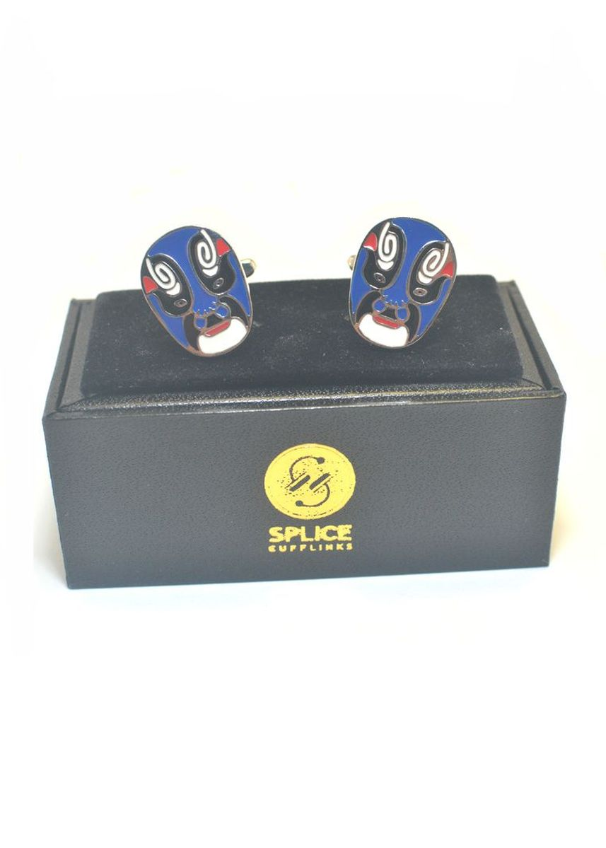 Blue color Cufflinks . Peking opera Mask Blue Cufflinks -