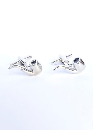 Multi color Cufflinks . Chrome Finished Bent Style Smoking Pipe Cufflinks -