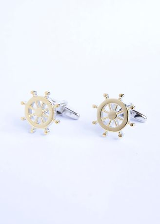 Multi color Cufflinks . Two Tone Ships wheels Cufflinks -