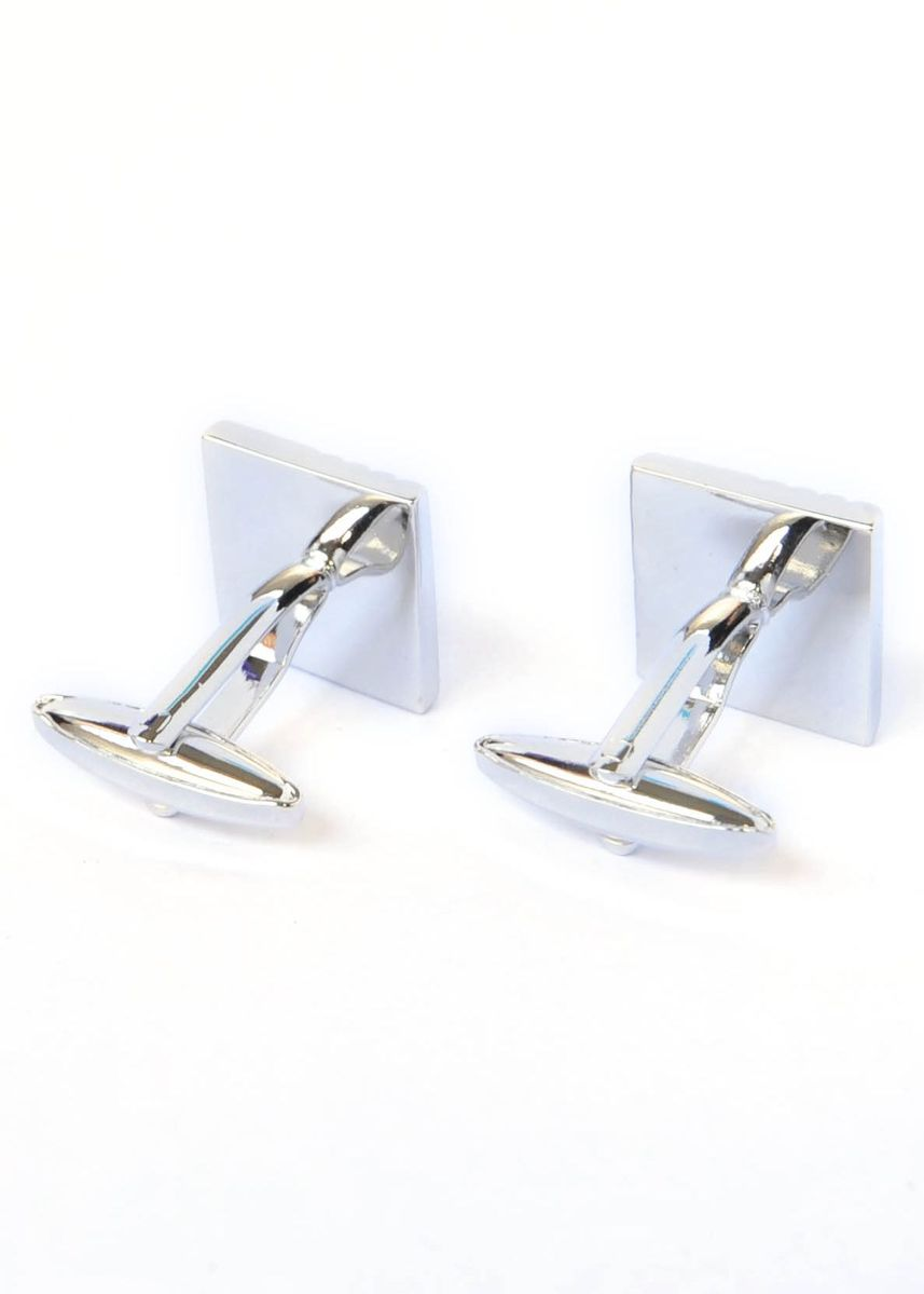 Multi color Cufflinks . Square Brushed Effect Lined with Crystal Cufflinks -
