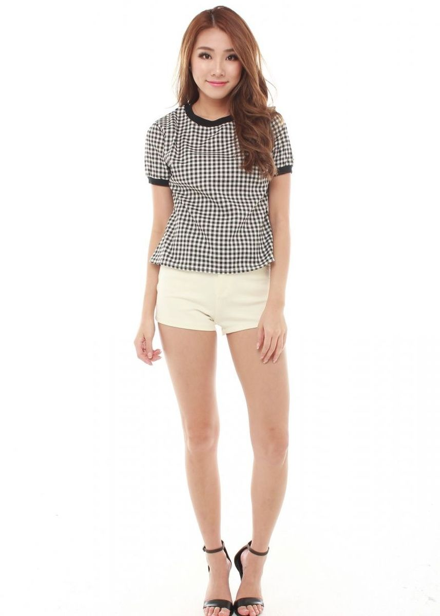 White color Tops and Tunics . Catlin Short Sleeve -
