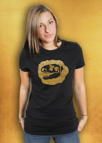 Black color Tees & Shirts . Tee-Saurus Logo Glitter Gold on black T-Shirt -