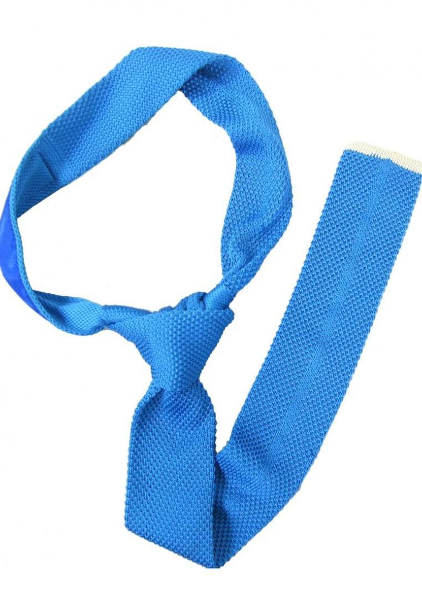 Blue color Ties . Classic Knitted Tie - Light Blue -
