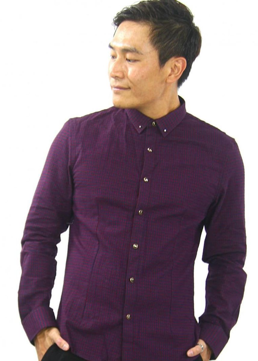 Violet color Casual Shirts . Dexter Checkered Long Sleeve Shirt -