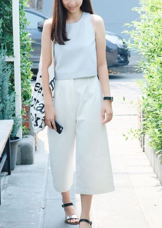 White color Trousers . TIDY culottes -