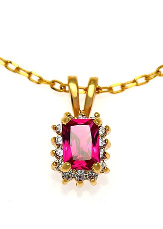Red color  . Jewelry Buffet 18k Gold Plate Pendant With Ruby.(RP00191X0000-3) -