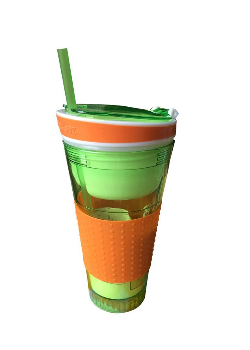 Green color Barware . Snackeez Snack and Drink in One Cup with Lid -