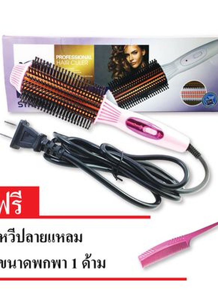 No Color color Brushes . YB-6218 2 in 1 Hot Brush with Double Sided Flat Iron -