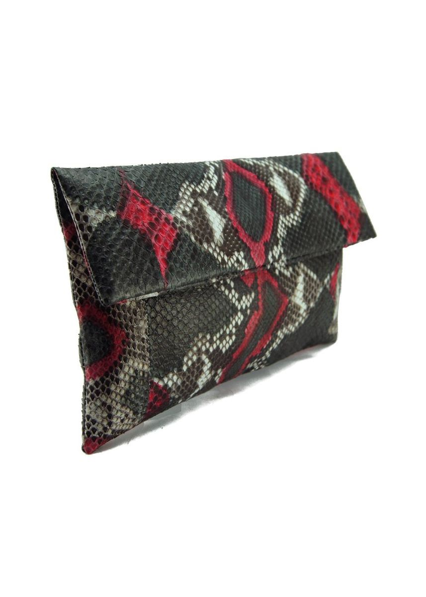 Multi color Wallets and Clutches . Red & Black Motif Python Leather Classic Foldover Clutch Bag -
