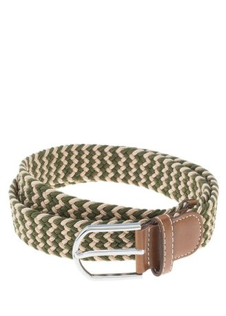 Green color Belts . เข็มขัด Stretchable Two Tone Weaved -