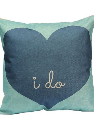 "Blue color Home Decor . Cute Cushion Cover (Blue)  ""I DO"" -"