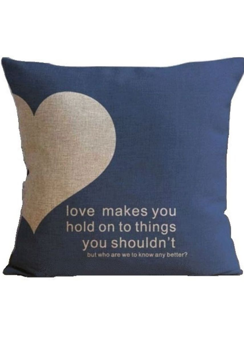 "Blue color Home Decor . Cute Cushion Cover ""LOVE QUOTE"" -"