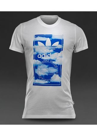 White color T-Shirts and Polos . Adidas Originals Cloud Tongue label Tee (White) -