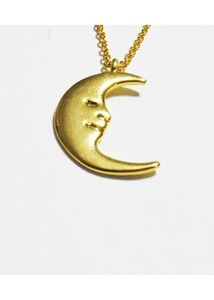 Gold color  . Stainless Steel Lune Smiling Moon Necklace -