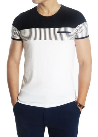 T-Shirts and Polos . Designed Stripe Round Neck T-Shirt with Fake Pocket -