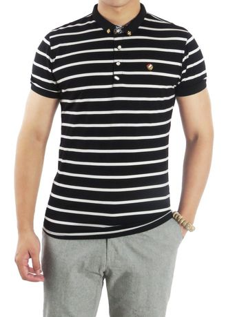Multi color T-Shirts and Polos . Black & White Stripe with Hidden Floral Collar Polo Shirt -