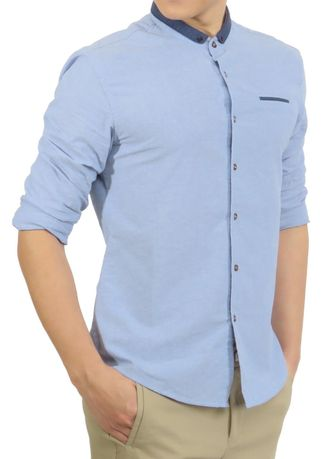 Casual Shirts . Light Blue Long Sleeve Shirt with Contrast Collar -