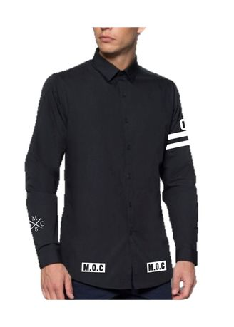 Black color Casual Shirts . Blackout Formal Crew -