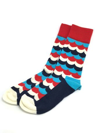 Red color Socks . Billow Series Multi Colour Wave Design Navy Blue, White, Red and Baby Blue Socks -