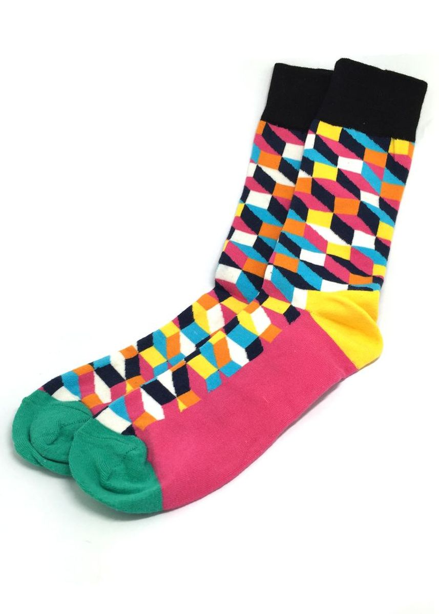 Pink color Socks . Zig Zag Series Multi Colour Swirl Design Pink, Green, Yellow and Black Socks -
