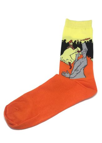 Orange color Socks . Illustrious Series Orange and Pale Yellow The Man and Woman Socks -