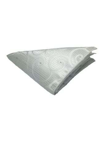 White color Pocket Squares . Dynamic Series Electric White Patterned Polyester Pocket Square -