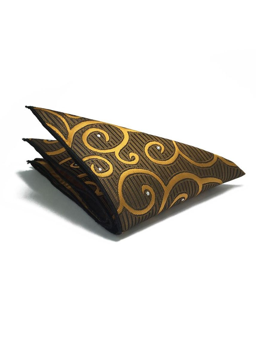 Gold color Pocket Squares . Dynamic Series Electric Gold Patterned Polyester Pocket Square -