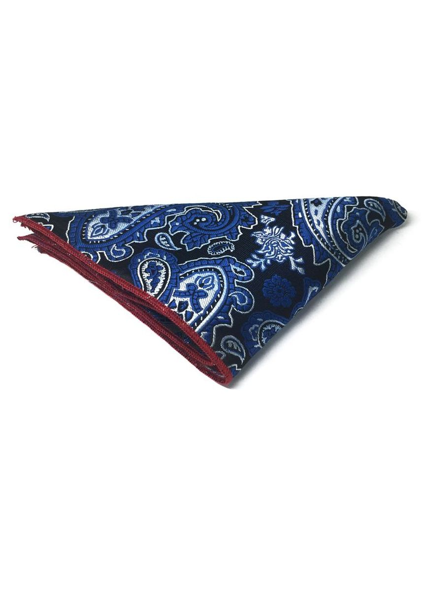 Blue color Pocket Squares . Taj Series Electric Blue Paisley Design Black Polyester Pocket Square -