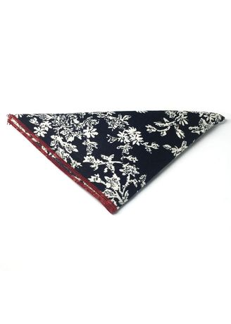 Blue color Pocket Squares . Posy Series White Floral Pattern Navy Blue Cotton Pocket Square -