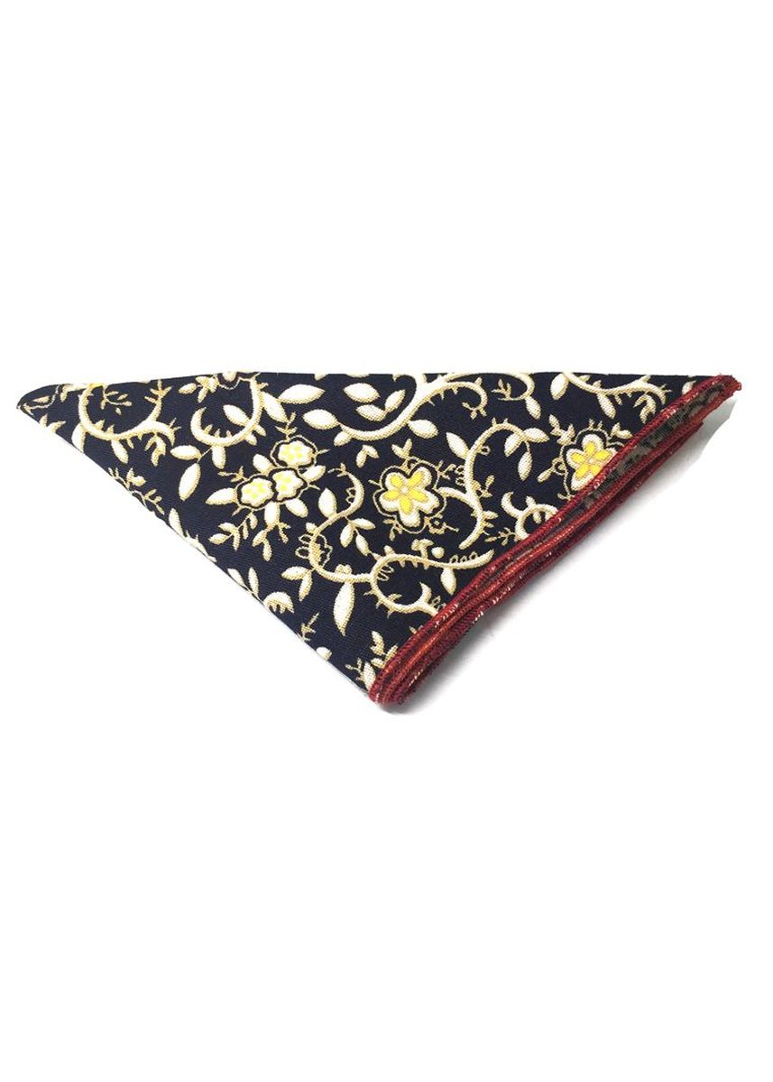 Blue color Pocket Squares . Posy Series White Tree Branch Pattern Navy Blue Cotton Pocket Square -
