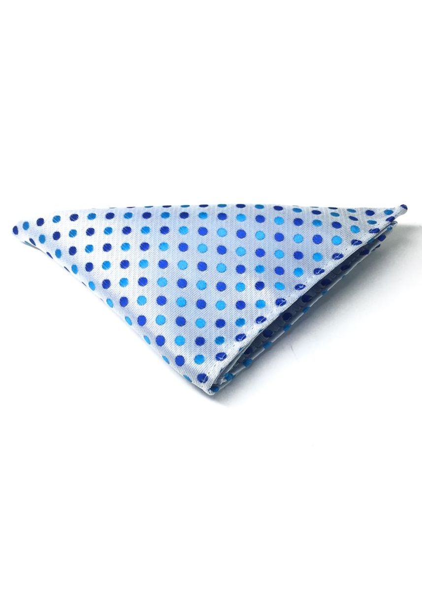 Blue color Pocket Squares . Dollop Series Turquoise and Blue Spots Blueish White Polyester Pocket Square -