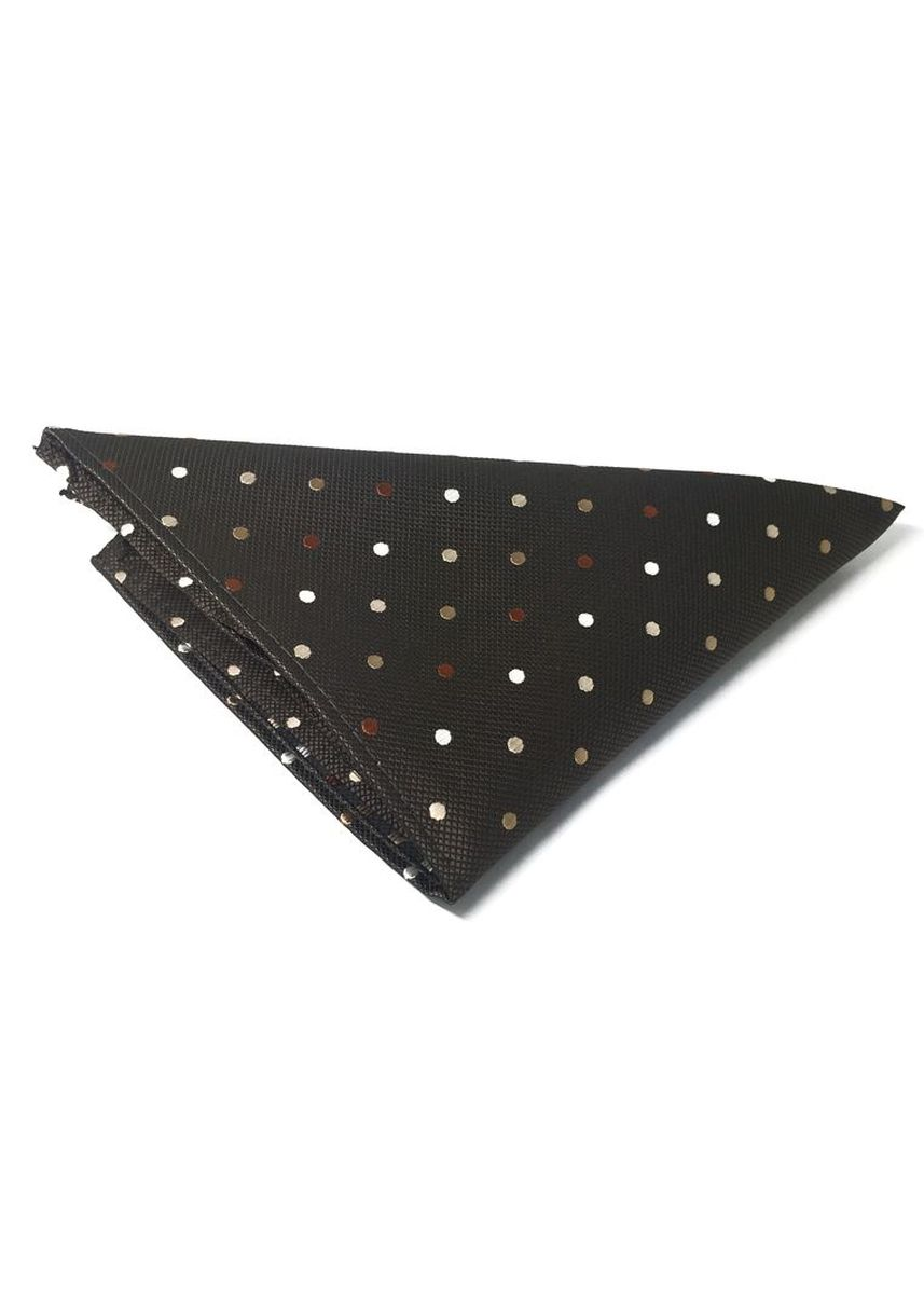 Brown color Pocket Squares . Dollop Series Brown and White Spots Dark Brown Polyester Pocket Square -