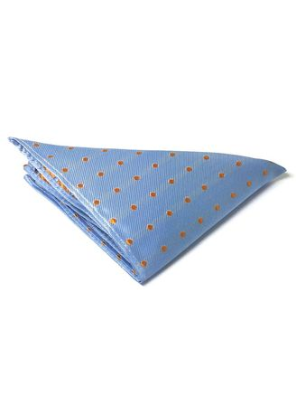 Blue color Pocket Squares . Dollop Series Orange Spots Sky Blue Polyester Pocket Square -