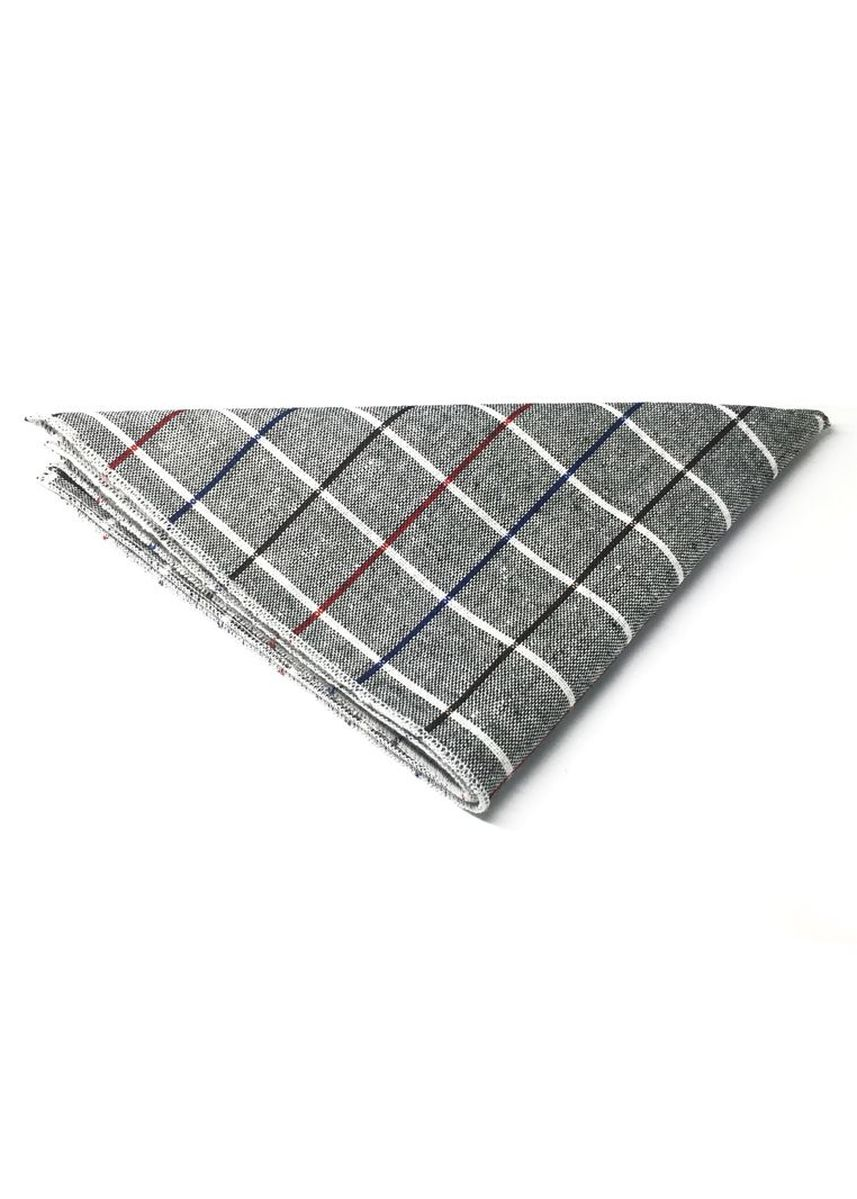 Grey color Pocket Squares . Patchwork Series Black, Red and Sky Blue Lines Plaids Design Dark Grey Cotton Pocket Square -