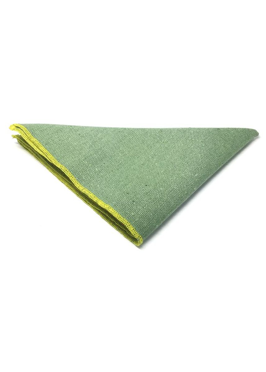 Green color Pocket Squares . Snap Series Yellow Lining Light Green Cotton Pocket Square -