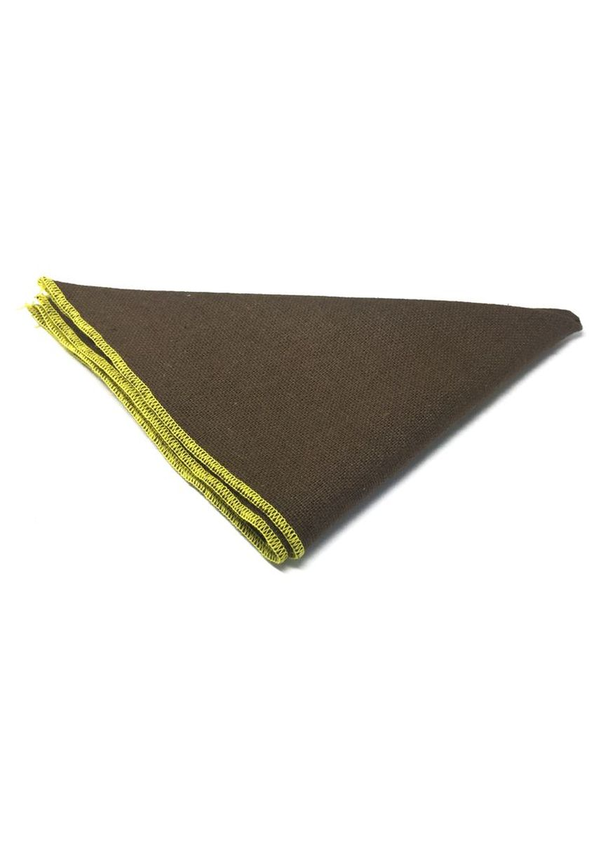 Brown color Pocket Squares . Snap Series Yellow Lining Brown Cotton Pocket Square -
