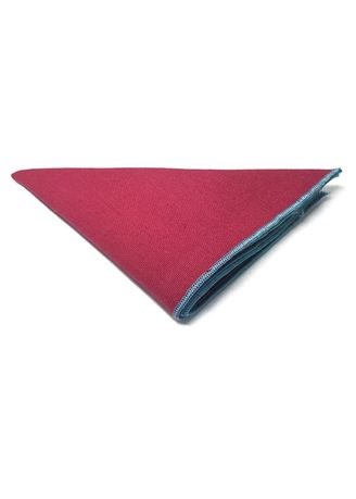 Red color Pocket Squares . Snap Series Turquoise Lining Pinkish Red Cotton Pocket Square -