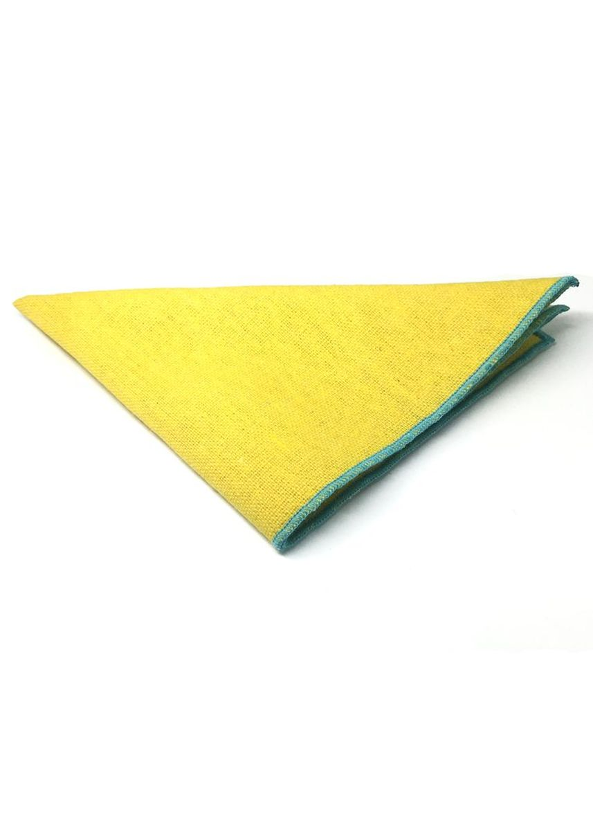 Yellow color Pocket Squares . Snap Series Greenish Blue Lining Yellow Cotton Pocket Square -