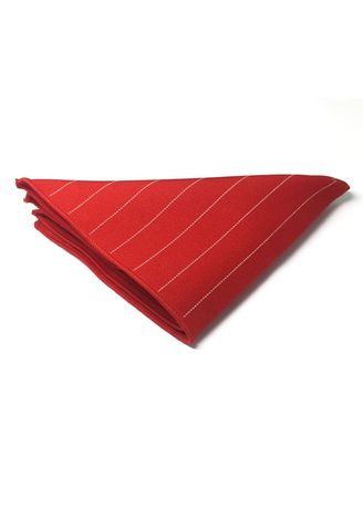 Red color Pocket Squares . Bars Series Thin White Stripes Bright Red Cotton Pocket Square -