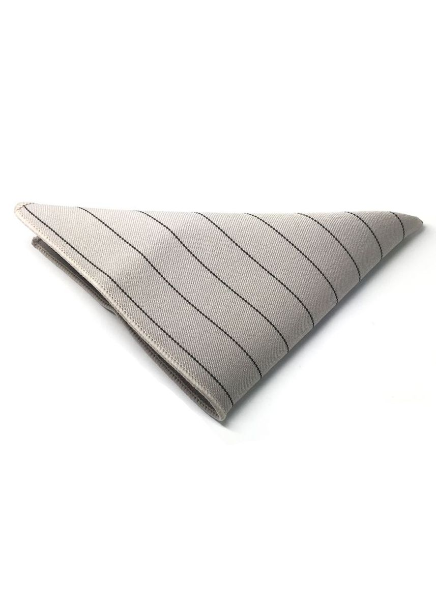 White color Pocket Squares . Bars Series Thin Black Stripes Greyish White Cotton Pocket Square -