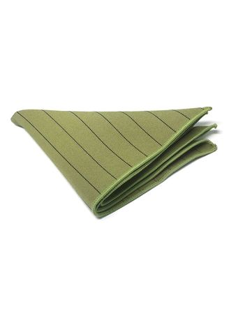 Green color Pocket Squares . Bars Series Thin White Stripes Light Army Green Cotton Pocket Square -