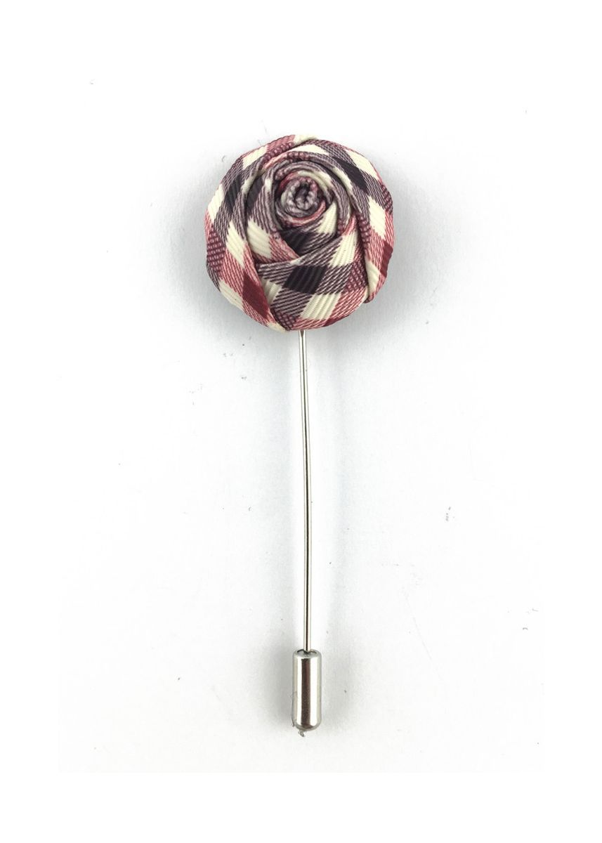 Silver color Cufflinks . Purple, Red & White Checked Design Fabric Rose Groom Lapel Pin -