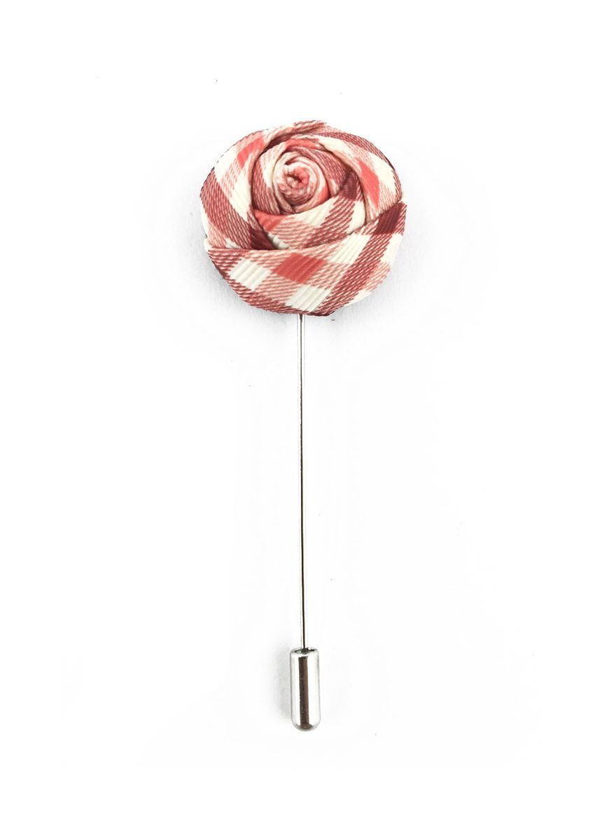 Silver color Cufflinks . Pink, Red & White Checked Design Fabric Rose Groom Lapel Pin -