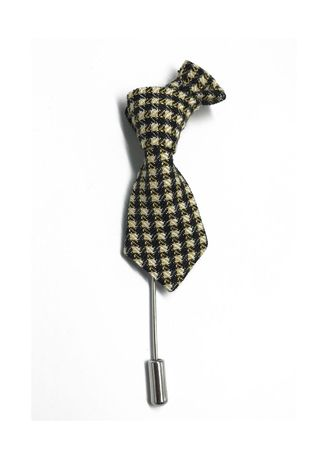 Silver color Cufflinks . Black & Pale Yellow Checked Little Tie Lapel Pin -