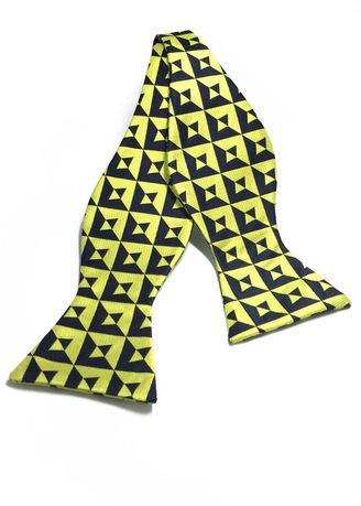 Yellow color Ties . Manual Series  Yellow & Black Patterned Self-tied Man Made Silk Bow Tie -